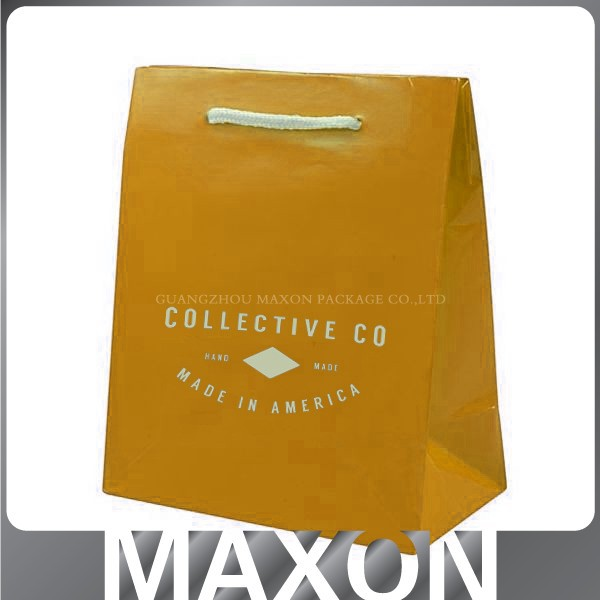 2015 NEW year HOT <strong>orange</strong> brown paper bags with handles wholesale