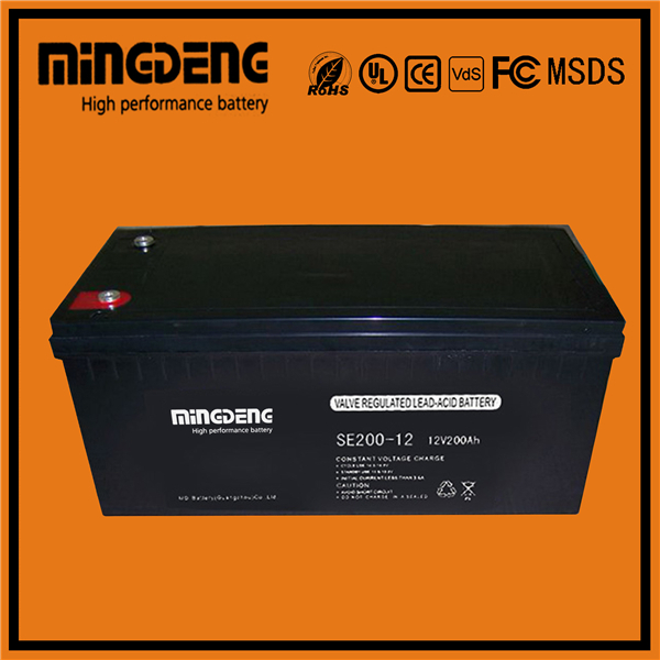 CE Standard rechargeable high quality 12v 200ah solar wind power storage sealed lead acid battery