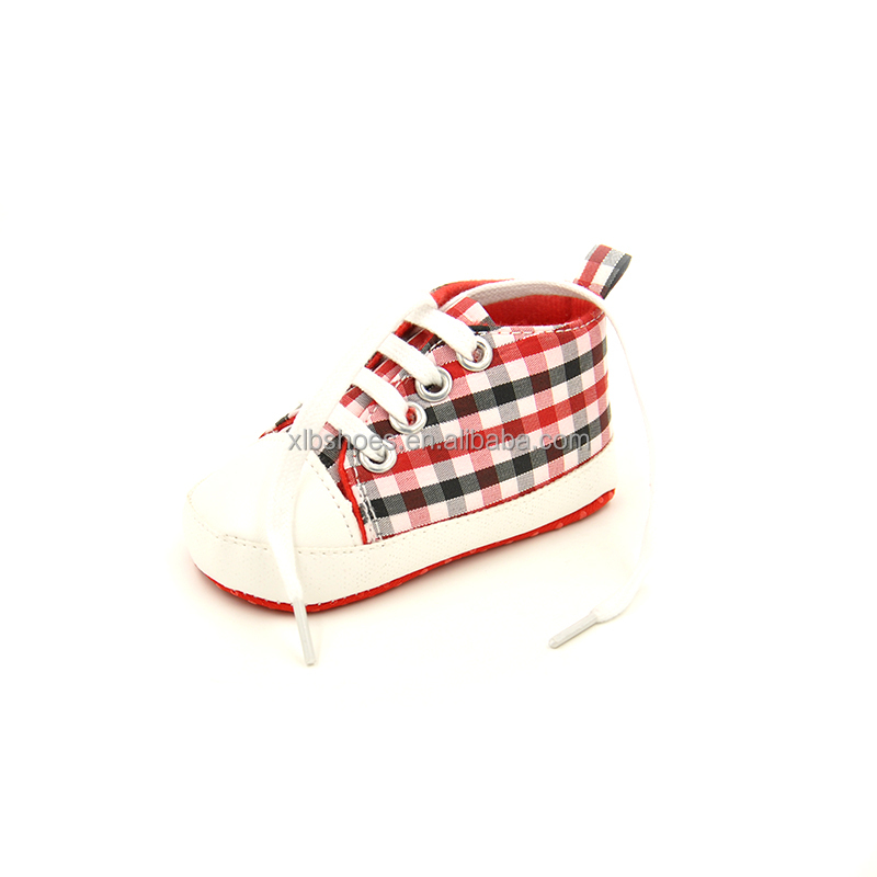 Plaid print Unisex Kids new born canvas baby Shoes 2017