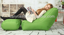 relaxing beanbag lounger seat, lazy bean bag set, back support reading bean bag chair with ottoman