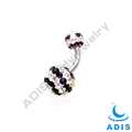 Crystal Ball Banana Belly Bars Navel Rings Earring Ferido Jeweled Belly Ring