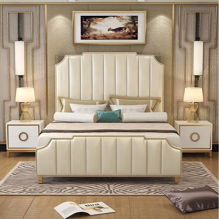 Home and hotel general used Luxury leather king size storage <strong>bed</strong>