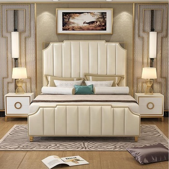 Home and hotel general use Luxury leather king size storage bed