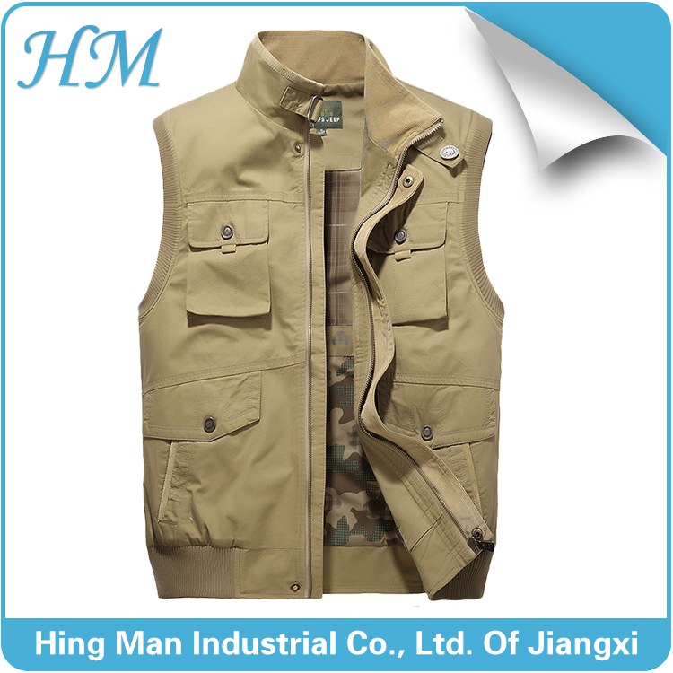 100% cotton mens sleeveless vest with pockets fishing vest for wholesale