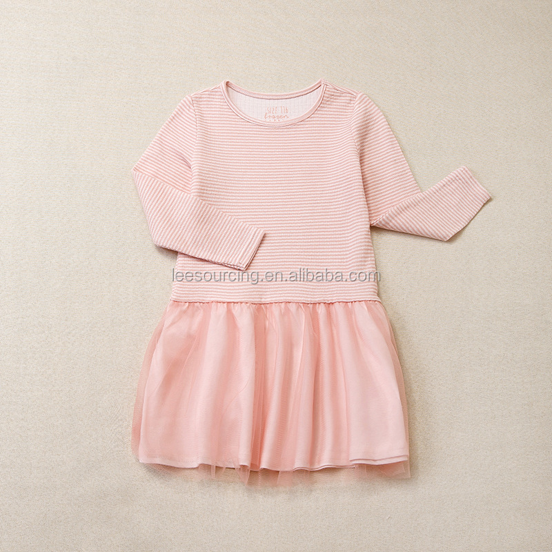 New designs pink long sleeve stripe cotton baby girls tulle tutu dress