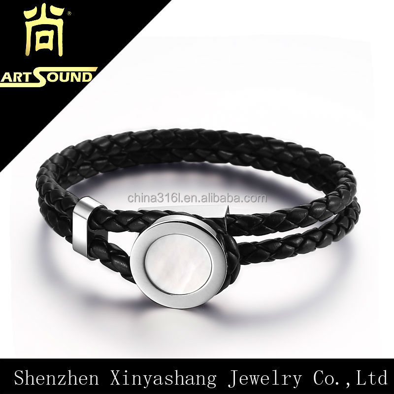 Special design shiny shell braided leather bracelet wholesale