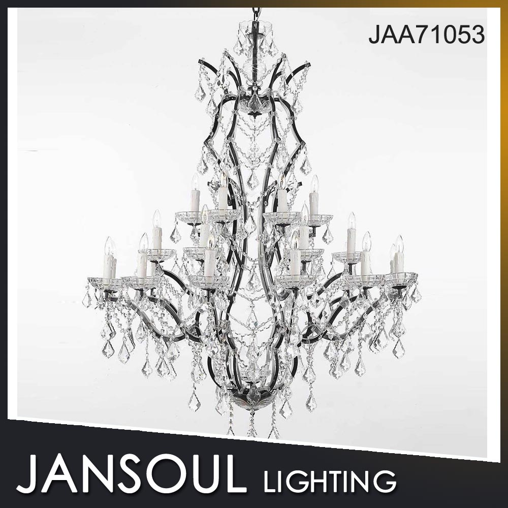 Modern LED lustre black metal K9 clear crystal chandelier secret pendant light