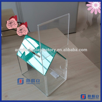 Factory Custom Made Acrylic House Shape Donation Box with Lock Wholesale