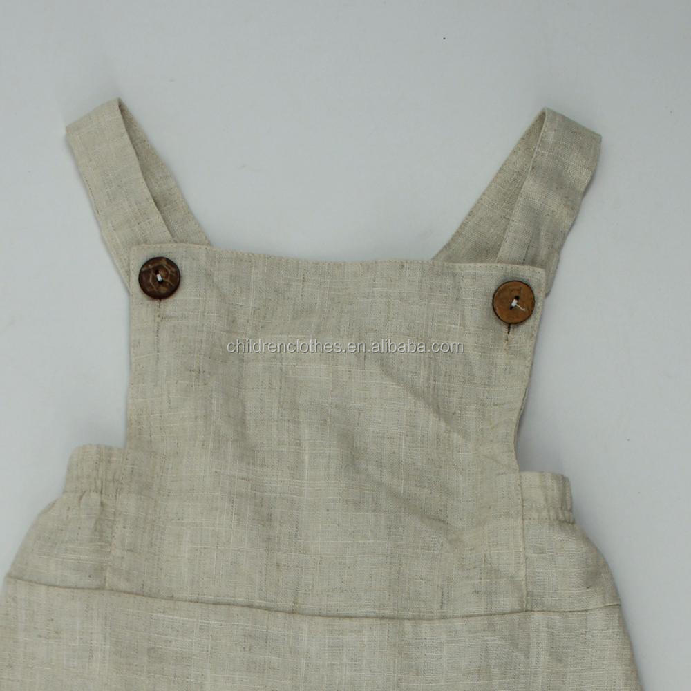 Wholesale Boutique Baby Clothes Linen Suspenders Romper Fashion Baby Adjustable Romper
