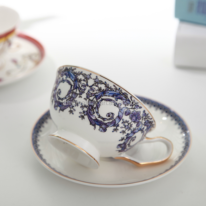 Chinese blue tea cup set, Porcelain coffee cup and saucer set of 4