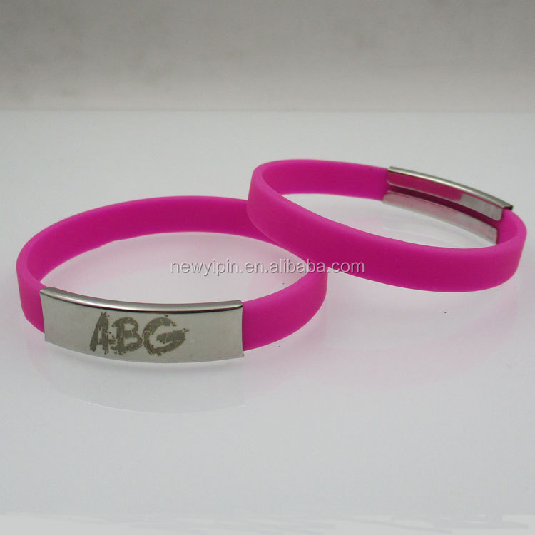 cheap silicone wristbands laser logo silicone bracelet with metal clasp