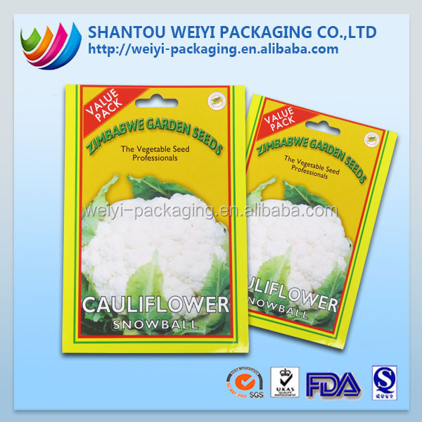 laminated kraft paper 3 sides seal vegetable seed packing