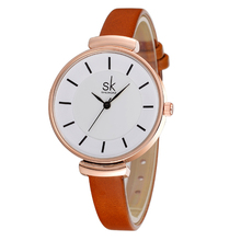 Brand Women Watches Simple Leather Wristwatch Lady Gold Luxury Dial Watches Relogio Feminino Brown Leather 2017
