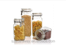 Low price wide mouth glass bottle sealed cans storage glass canister set
