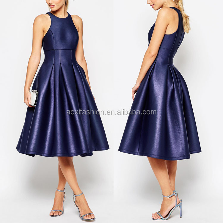 2016 OEM High Quality Fitted Waist A-line Royal Blue Sleeveless Bling Bling Midi Prom Dress