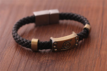Animation surrounding Naruto Konoha Mark Naruto Bracelet Leaf Mark Brown Wristband Magnetic Snap Cosplay Bangle Bracelet For Ani