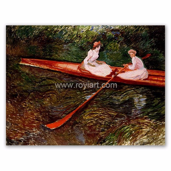 Claude Monet Oil Painting Reproduction on Canvas of The Pink Skiff