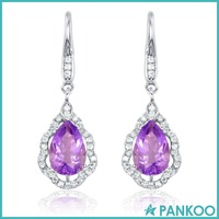 Wholesale 925 sterling silver teardrop crystal diamond dangler earrings