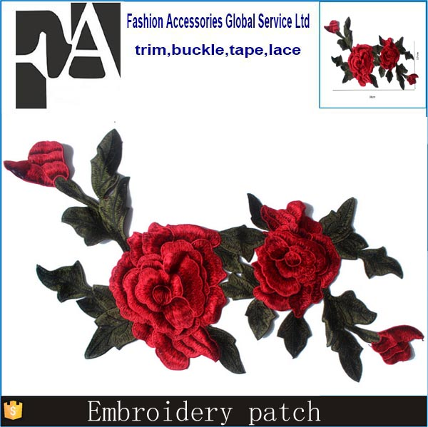 Red Green Rose Floral Trim Venise Applique Motif Embroidered Collar Trimming Sew on Patches