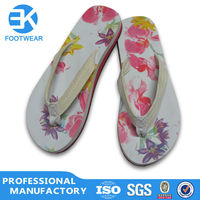 EK Cheap Fashionable Women Nude Beach Flip Flops With Cotton Fabric Strap