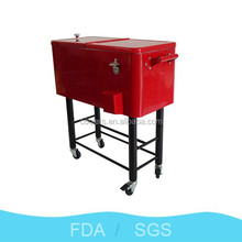 76L ice cooler with cart metal beverage cooler