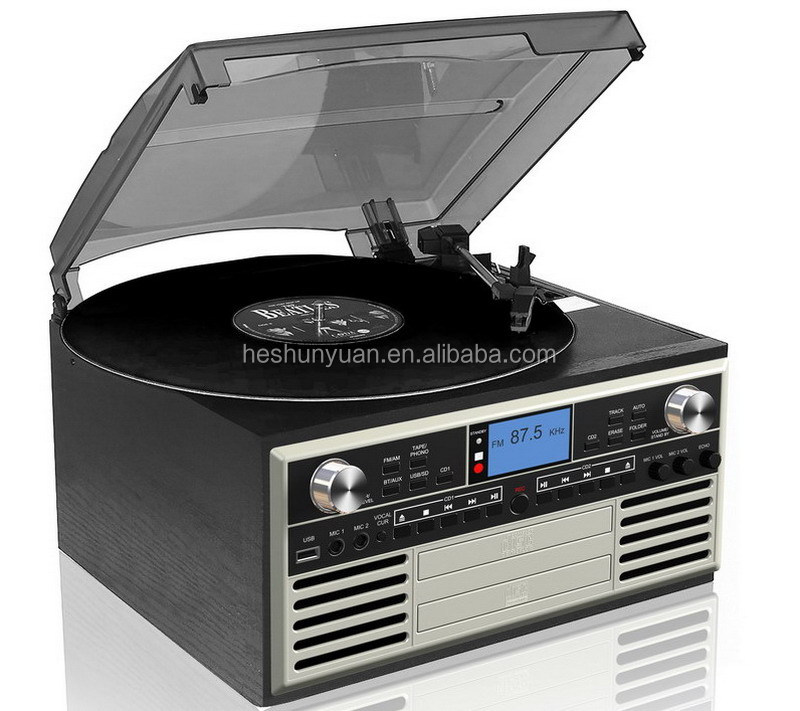Wooden OEM Retro turntable vinyl records with radio & cassette cd player