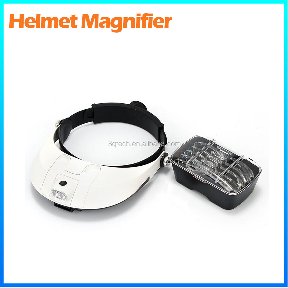 DH-87002 Asjustable Headband Watchmaker Magnifier ,Led Illuminated Binocular Helmet Magnifying Glass
