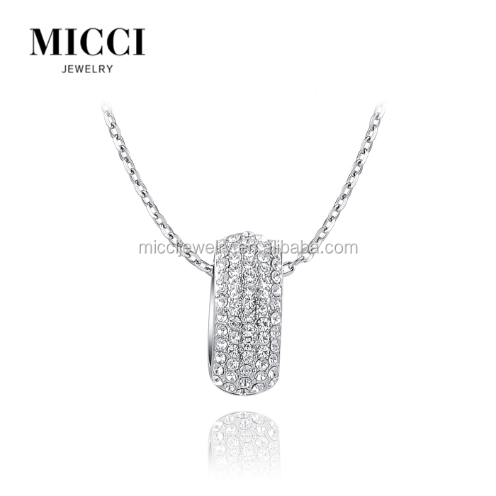 Best selling items 2016 fashion zinc alloy crystal inlay necklace silver plated birthstone big ring pendant