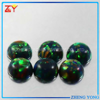 Imitated round cabochon opal/Lab created opal stones/Synthetic black Ethiopan Opal