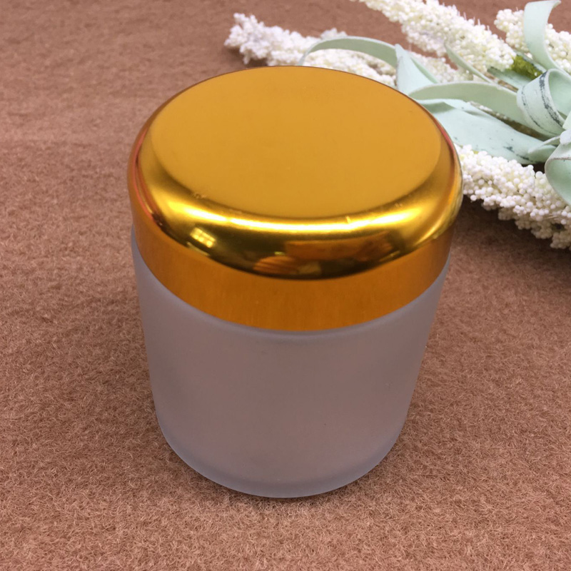 empty frosted cosmetic glass jar 60ml and white UREA bakelite lid