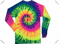 Colortone Womens/Ladies, mens Tie Dye Long Sleeve T-Shirt, Rainbow Tie-Dye long Sleeve lightweight dry fit performanceT-Shirts