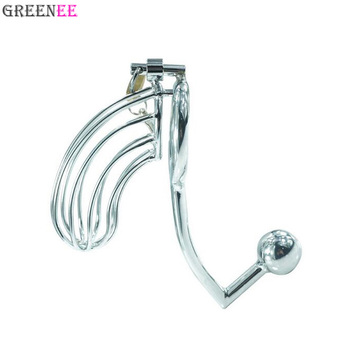 Male Penis Lock Metal Chastity Device Cage With Anal Hook Metal Cock Lock Chastity Belt Toys For Man