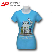 Wholesale fashion fancy design v-neck fitted digital printing women t-shirts 2015