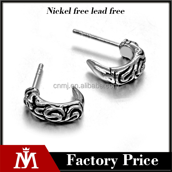 hot sell claw earrings casting sharp men's punk earrings