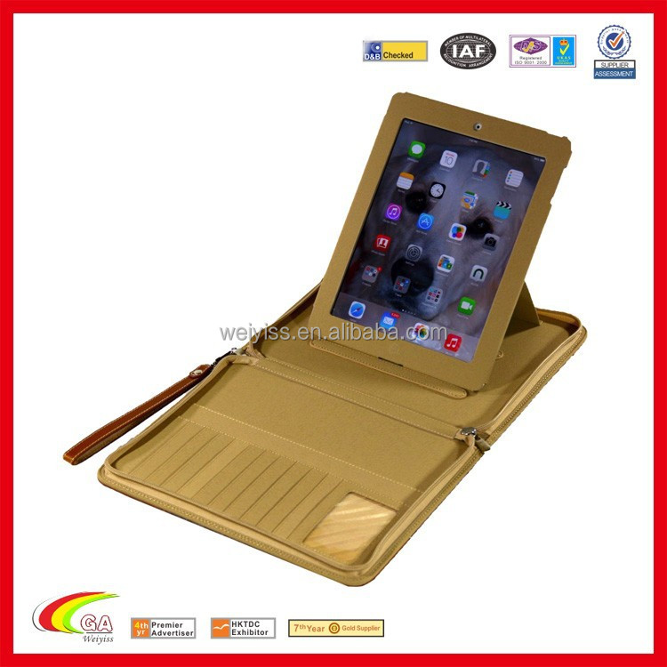 PU Leather Zipper Stand Case Cover Bag Multi-function handbag for iPad air 2