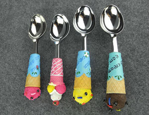 stainless steel polyresin handle ice cream scoops