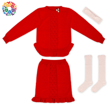4 pieces Fashion Girls Latest Design Winter Sweater Boutique Red Children Sweater Set 100 % Wool Sweater Designs For Kids
