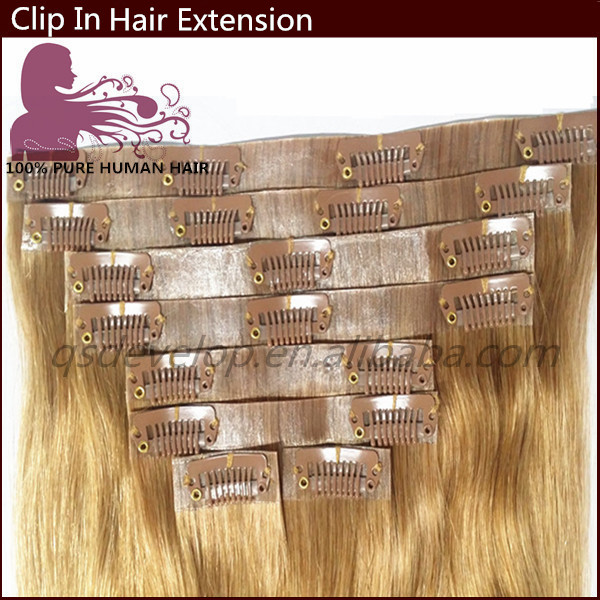 Newest design factory direct price high quality clip in human hair extensions for white women