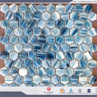 hexagon glass mosaic tile colored hexagon mosaic tile blue glass mosaic tile