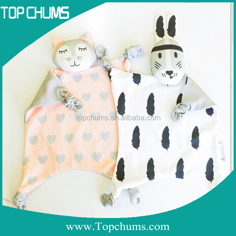 Paypal China square cuddle animal head plush security blanket baby