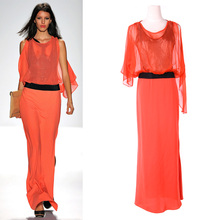 Full Length Chiffon Orange Colored Sexy One Piece Style Evening Dress