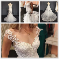 2017 High Quality Lace Beading Mermaid Wedding Dress With Detachable Train Tiamero 1A1175A