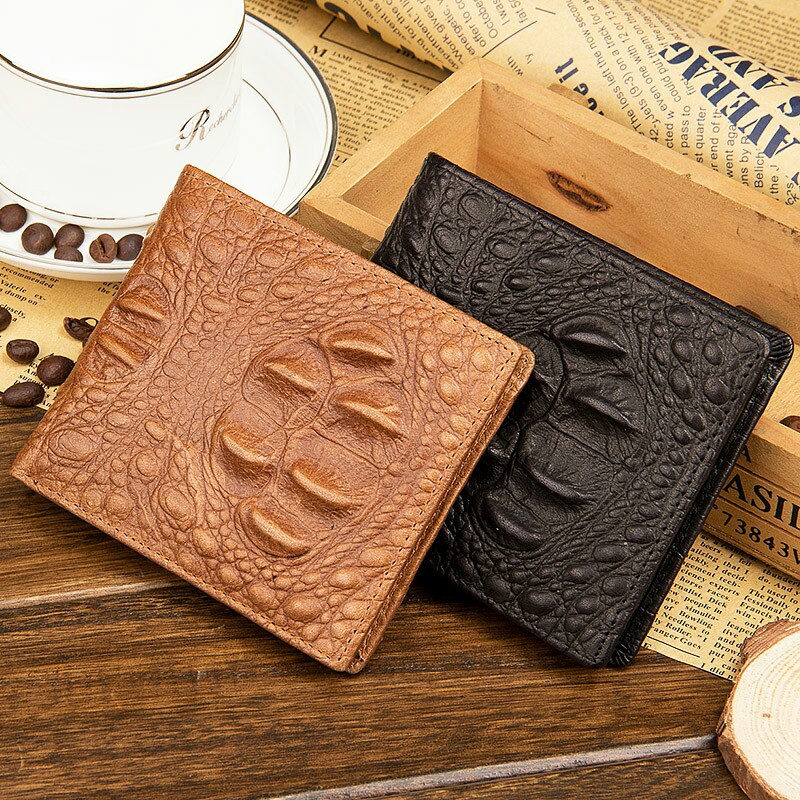 Baellerry new men's short retro genuine leather crocodile pattern wallet large-capacity hot selling US dollars purse