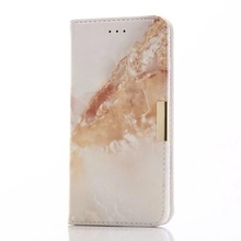Artistic Marble Pattern PU Leather Case with Credit Card Slot Magnetic Closure Flip Wallet Cover Phone Case for iPhone 7
