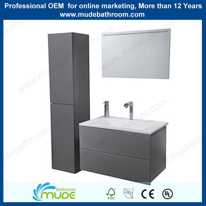 Small MDF/MFC wall mounted Bathroom Vanity Cheap frosted dark Furnitures Sets