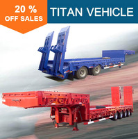 3 axles low platform low bed semi trailer with rear side wall door