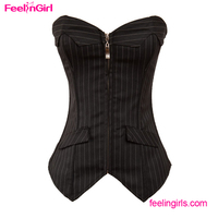 Black Pinstripe Full Steel Boned Vaacodor Japanese Corset