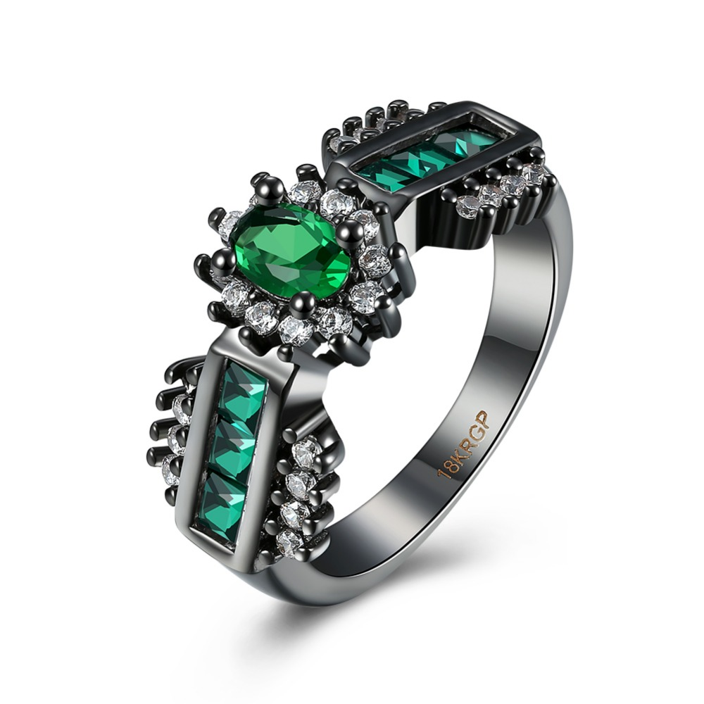SJPR959C Mysterious Ring Emerald Cut Green Cubic Zirconia Brass Black Delicate Halo Ring for Women