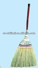 sorghum grass broom with long wooden handle