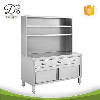 Heavy Duty Kitchen Stainless Steel Bench Cabinet With Drawers Over Shelves